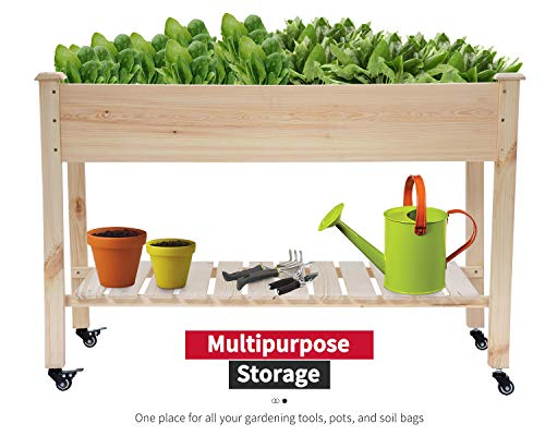 Raised garden bed with legs 48x23x32 inch wheels elevated garden bed wood planter box kit for vegetable flower outdoor… 7 ✔【high quality materials】:the raised garden bed is made of no paint, garden bed use non-toxic fir wood, which is known for its strength and dimensional stability as well as its natural resistance to rot and pests. The 0. 6'' thick solid wood boards are only sanded to prevent any undesired injury caused by wood splinters. ✔【nature gardening buddy】:the garden bed use natural wood color makes your garden and greenhouse more original and healthy, and its natural wood grain on the boards bring a rustic and natural style to your garden. ✔【ergonomic design】:the garden bed built with a set of locking wheels to move the planter from place to place. The wood garden bed user-friendly design,the height about garden raise bed is 32. 3 inch, the people who have a backache or knee pain can easily manage plants,you don't need to bend down or keep down.