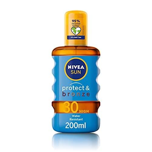 NIVEA SUN Protect & Bronze Oil Spray (200 ml), SPF 30 Sun Oil with Natural Tan Accelerator Formula, Water-Resistant Sun Spray, Immediate Protection and Non-Greasy