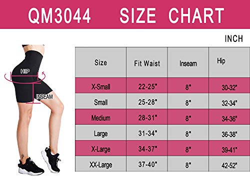 Cadmus Women's Biker Shorts for Workout w Pocket,3044,Pack of 3,Black,Blue,Red,XXX-Large