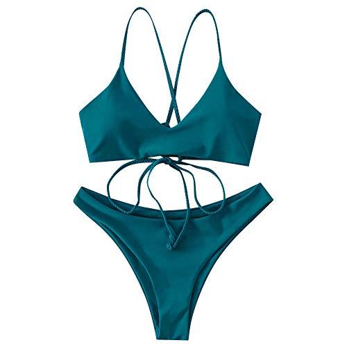 ZAFUL Bikini para mujer cruzado con lazo, acolchado, traje de baño azul verde M