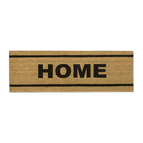 Relaxdays – Felpudo Extra Ancho Home para la Entrada del hogar, 1.5 x 40 x 120 cm, Fibra de Coco y PVC, Antideslizante, Color marrón