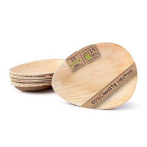 BIOZOYG Palmware - Haute qualité d'assiette en Feuille de Palmier I 25 pièces d'assiettes en Forme de Goutte du Feuille Palmier 17 cm I Bio jetable Vaisselle pour fête Rapidement décomposable