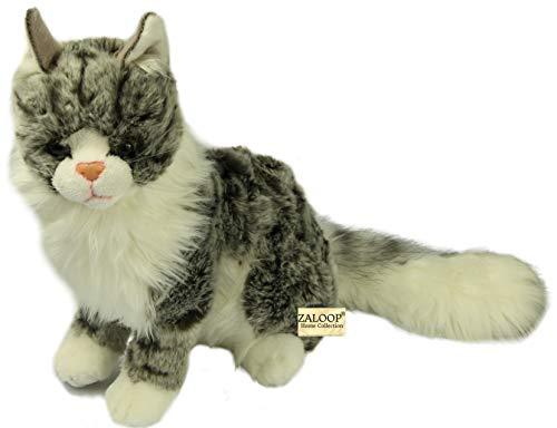 Zaloop Katze Waldkatze sitzend Plüschtier Kuscheltier Stofftier Plüschkatze A2 Main Coon