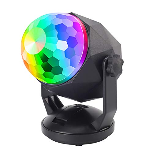 LED Disco Ball Lights, Lukasa Portable Strobe Stage Ball Lights, Sound Activated Party Lights with Remote Control, DJ Lighting, RGB, Stage Par Light for Car Room Dance Parties Birthday DJ Bar Club Pub