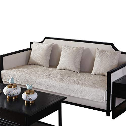Funda de sofá de Color Liso en Forma de L Chaise Longue,Juego de Fundas de sofá de fácil instalación,para Perros,Gatos,Mascotas,loveseat,Fundas de sofá,Beige,90 x 210 cm