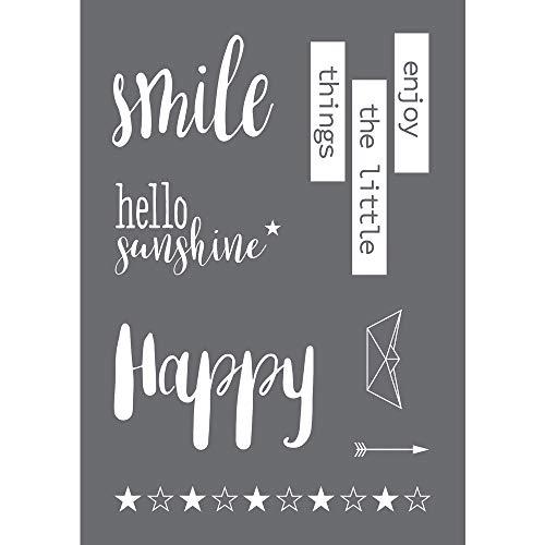 Rayher 45097000 Schablone Smile, Format DIN A4, mit Rakel, Siebdruck-Schablone, Malschablone, selbstklebend