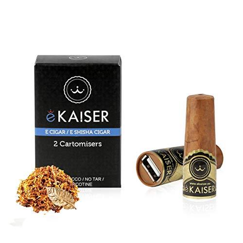 eKaiser Elektronische Zigarre 2er Pack Cartomizer Gold Cigar Flavour E Zigarre E Shisha Einweg - 30/70 VG/PG Premium-Geschmacksrichtungen 700 ZÜGE für eKaiser aufladbare Zigarre Cloud Chaser Vape