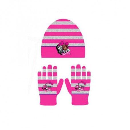 Bonnet et gants Monster High coloris rose Taille unique