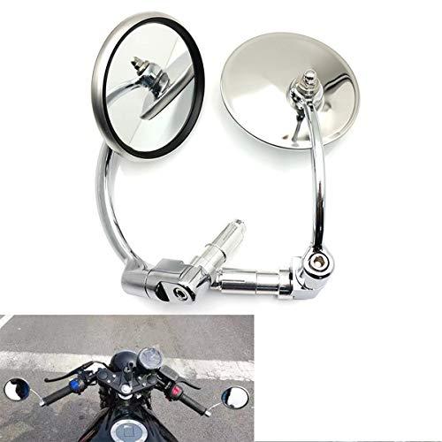 Espejo lateral universal para motocicleta, espejos retrovisores redondos cromados, espejos de extremo de barra para motocicleta Chopper Scooter Cafe Racer