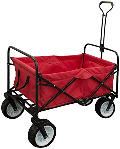 QPP-CL Carro de Playa Plegado, Base patentada sin Arena con Mangos de Empuje o tirón, Ruedas de Todo Terreno Cuerpo de Aluminio Tubular