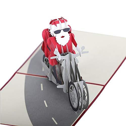 Justdolife Gruß popup kaart creatieve Kerstman op een feestdag kaart van de motorfiets 3D