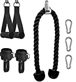 Sfeexun Tricep Rope Cable Machine Attachment, Heavy Duty Triceps Pull Down Rope with Resistance Band Handles and Ankle Strap, Home Gym Accessories for Arm Strength Training (Style 1)