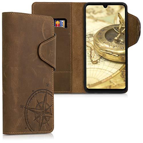 kalibri Wallet Hülle kompatibel mit Huawei P30 Lite - Hülle Leder - Handy Cover Handyhülle Kompass Vintage Braun