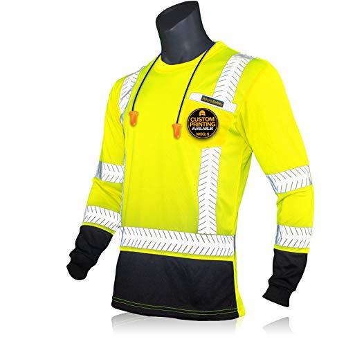 KwikSafety (Charlotte, NC) MECHANIC Long Sleeve (w/POCKET & Black Trim) Class 3 ANSI High Visibility Safety Shirt Fishbone Reflective Tape Construction Security Hi Vis Clothing Men | Yellow Medium