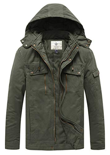 WenVen Men's Casual Insulated Winter Cotton Jacket with Hood (Army Green,Large)