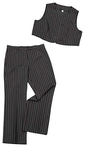 AdoniaMode Damen Hosen-Anzug Hose mit Weste Stretch Business Zwei-Teiler Nadel-Streifen (2.TLG) Gr. 44