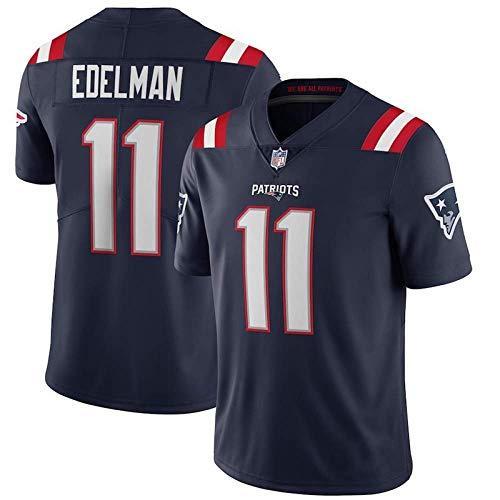 LAVATA Männer Rugby Jersey Trainingshemden New England Patriots 11# Julian Edelman Herren Stickerei Rugby Fußball Trikot Kurzarm Top T-Shirts