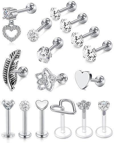 Briana Williams 16G Tragus Earrings for Women Stainless Steel Cartilage Earring Forward Helix Piercing Jewelry Lip Rings 16 Gauge Stud Earring for Helix Cartilage Tragus Piercing Jewelry