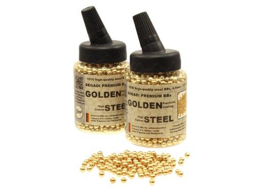 BEGADI 3.000 Stahl BBS/Stahlkugeln Kal. 4,5mm .177 - goldfarben beschichtet - in Speedloader