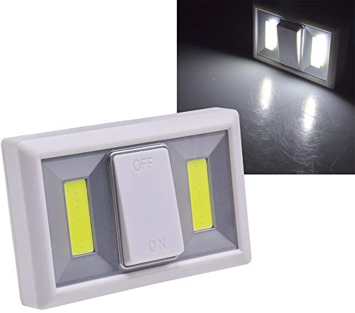 ChiliTec LED Wand Magnet Klebeleuchte mit Schalter, 240lm weiß 6000k Batteriebetrieb 4xAAA