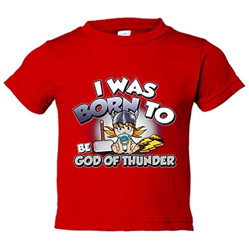 Camiseta bebé I was born to be be god of thunder parodia friki del Dios del trueno - Rojo, 2 años