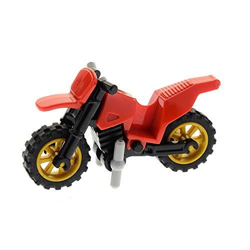 LEGO 1 x System Motorrad rot Verkleidung Fahrgestell Räder perl Gold Dirt Bike mit Ständer für Set 60042 70750 50860 50859 50860c03