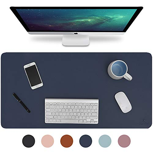 Knodel Desk Pad, Office Desk Mat, 31.5' x 15.7' PU Leather Desk Blotter, Laptop Desk Mat, Waterproof Desk Writing Pad for Office and Home, Dual-Sided (Dark Blue)