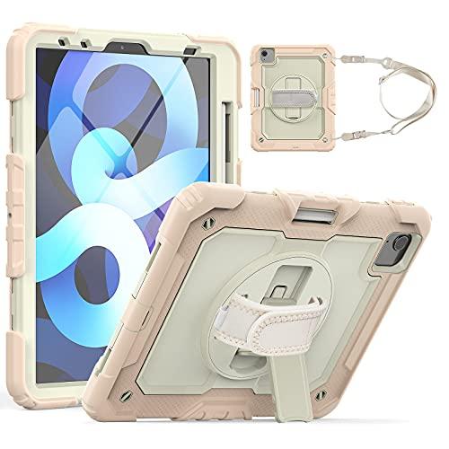 HaoHZ Funda para iPad Pro 11 2nd / 3rd Generation 2021/2020/2018 con Portalápices, Funda Protectora De Silicona A Prueba De Golpes + Soporte + Asa para Hombro,Rosado