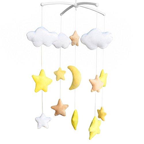 Fait à la Main en Peluche lit bébé Mobile Mignon étoile Lune bébé Musical Mobile Enfants décor de Chambre, Jaune
