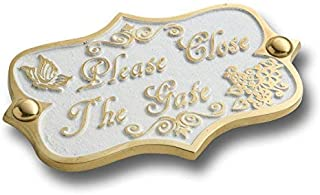 Please Close The Gate Brass Door Sign. Vintage Shabby Chic Style Home Décor Wall Plaque Handmade by The Metal Foundry UK.