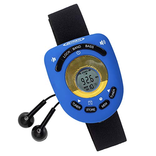 Jensen SAB-55BL Blue Limited Edition Sport Armband LCD Display Digital AM/FM Stereo Radio DBBS & Digital Clock Function Built-in Belt Clip & Sport Earbuds Included