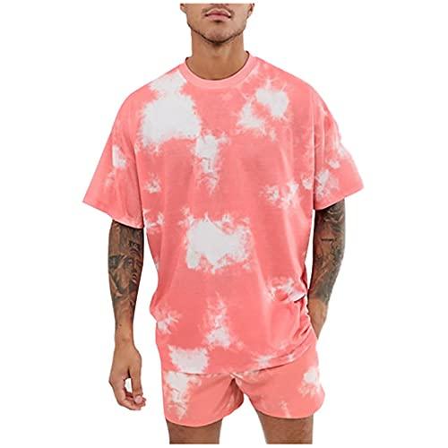 Chándal para hombre Tie Dye 2 piezas Trajes Sudaderas Pantalones Cortos Conjunto Loungewear Casual Ropa Set