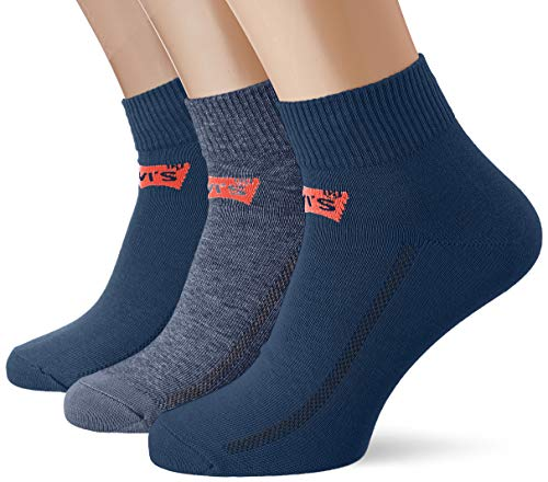Levi's Unisex Mid Cut Batwing Logo Socken, 3er Pack, Dark Denim, 39/42