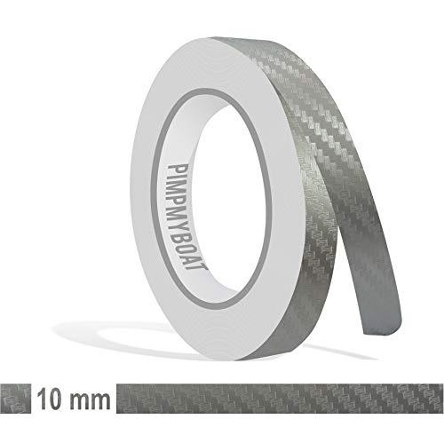 Siviwonder Zierstreifen Silber Carbon Glanz in 10mm Breite und 10 m Länge für Auto Boot Jetski Modellbau Klebeband Dekorstreifen