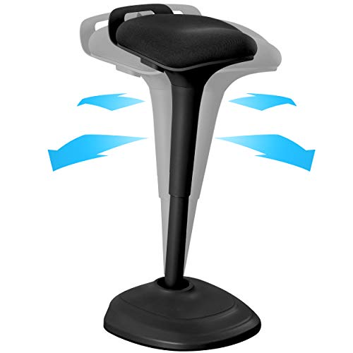 Office Wobble Stool Chair, Standing Desk Chair 27.56 to 32.12 inches, Adjustable Standing Bar Stool, Active Sitting Balance Chair, Comfortable & Breathable Seat Balance Non-Slip Desk Stool(Black)
