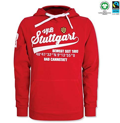 VfB Stuttgart GOTS Hoody/Hoodie/Sweater/Kapuzenpulli Traditionswappen/Schriftzug/Gründungsjahr/Koordinaten rot 100% Baumwolle in verschiedenen Größen (S - 5XL) (XXXXL)