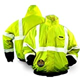 KwikSafety (Charlotte, NC) GUARD Bomber Safety Jacket (FOLDABLE Hood) Black Cuff Class 3 Hi Visibility Water Resistant ANSI OSHA Reflective Hoodie Winter Construction Gear Men | Yellow Large
