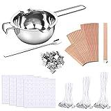 Uponer Kit de Fabricación de Velas 150 Mechas Enceradas,2 Soporte de Metal 224 Pegatinas de Mechas Vela Doble Cara,30 Piezas Mecha Madera para Hacer Velas y Manualidades de Bricolaje