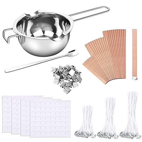 jiehu Kit de Fabricación de Velas 150 Mechas Enceradas,2 Soporte de Metal 224 Pegatinas de Mechas Vela Doble Cara,30 Piezas Mecha Madera para Hacer Velas y Manualidades de Bricolaje