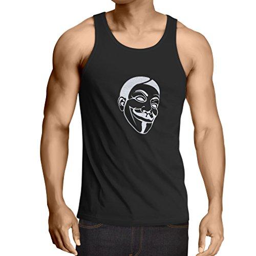 lepni.me Camisetas de Tirantes para Hombre Luchadores por la Libertad annimos, V de Venganza, mscara de Guy Fawkes. (Large Negro Fluorescente)