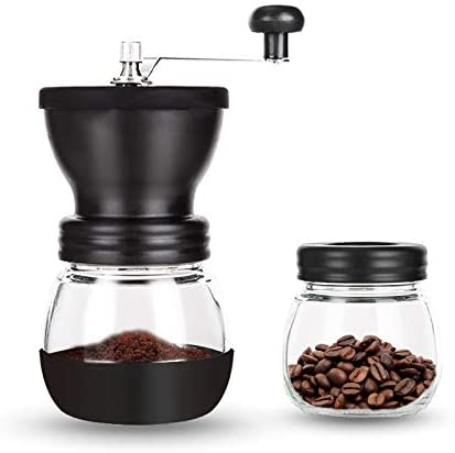 PARACITY Manual Coffee Bean Grinder Hand Coffee Mill with 2 Glass Jars Ceramic Burr Stainless product image