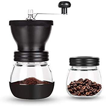 Paracity Manual Coffee Bean Grinder with 2 Glass Jars