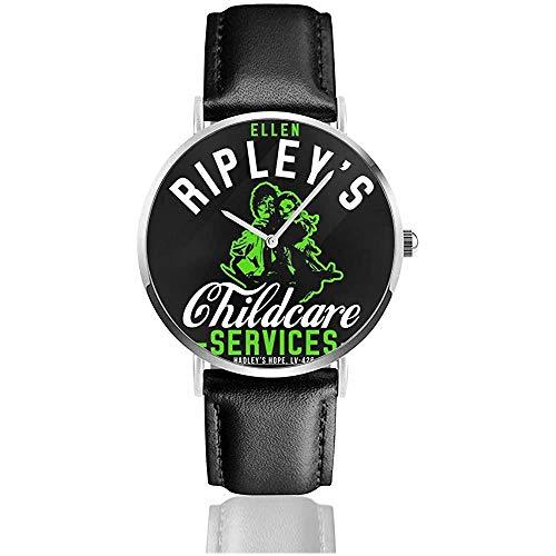 Unisex Ellen Ripleys Kinderbetreuung Aliens Uhren Quarz Lederuhr mit schwarzem Lederband