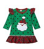 Bebé Niña Vestido de Navidad con Manga Larga Disfraz Navideño para Recien Nacida Chicas 0-6 Años Vestido Verde de Volantes con Estampado de Papá Noel y Puntos (Verde, 0-12 Meses)