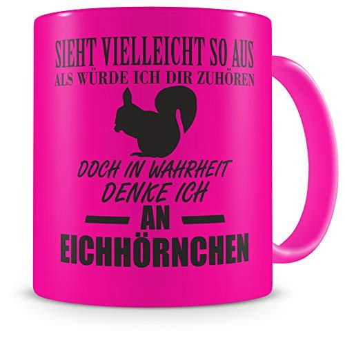 Samunshi® Tasse Eichhörnchen Deko mit Spruch Geschenke Geburtstag Kaffeebecher Kaffeetasse H:95mm/D:82mm neon pink