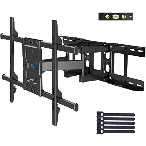 Full Motion TV Wall Mount Articulating Arms Swivel Tilt Rotation for Most 37-70 Inch OLED, LCD, LED Flat Curved TVs, Extension to 24 inch Wood Stud up to 132lbs Max VESA 600x400mm by Pipishell
