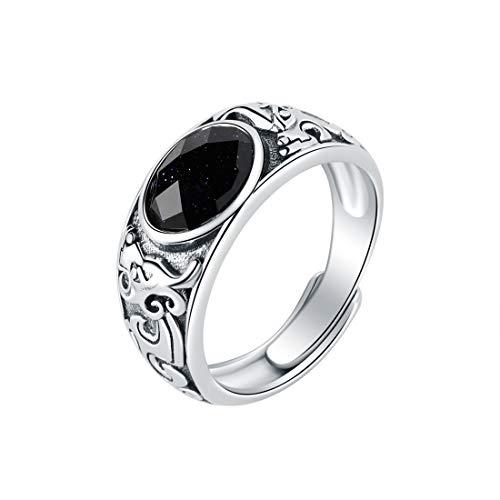 SA SILVERAGE Anillo de boda de plata de ley 925 con ágata negra para hombre, anillo de plata ajustable