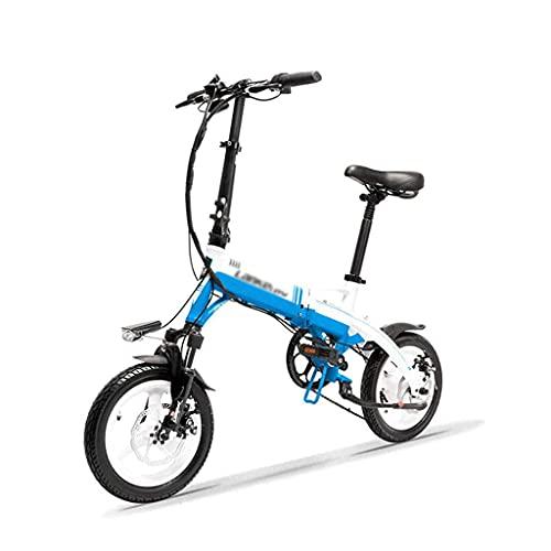 N&I Electric Bike Mini Portable Folding E Bike 14 inch Electric Bicycle 36V 350W Motor Magnesium Alloy Rim Suspension Fork Black White