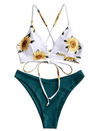 ZIYYOOHY Damen Bikini Set Sonnenblume Spaghetti Träger Gepolstert Bandage Bademode (M, Dunkelblau)