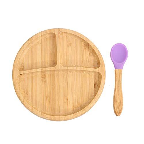 L-DDYX Cuchara de tazón de bambú Natural para niños con Ventosa Plato de tazón de alimentación para niños Plato de Ensalada de Frutas Anti-escaldado Platos para bebés Plato Saludable, Morado